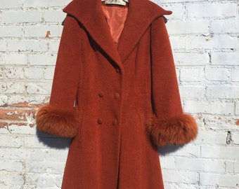 RESERVED Vintage Lilli Ann Wool Coat with Fur Trim