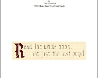 BOOKMARK - Read The Whole Book - cross stitch kit