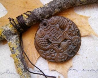 Jade, fish, pendant, amulet, talisman, necklace