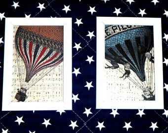wall decor, set of two wall pictures, air balloons print in frame