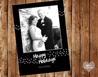 HAPPY HOLIDAYS CARD black - white - classic - simple - lights - glamour - digital