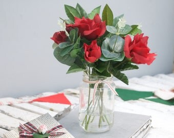 Christmas Bouquet - Red Rose bouquet - valentines bouquet - Artificial flowers - Faux rose bouquet - faux flowers - artificial bouquet