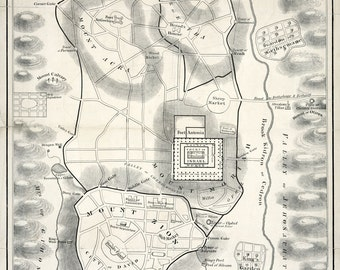1800s Map of the City of Jerusalem Israel