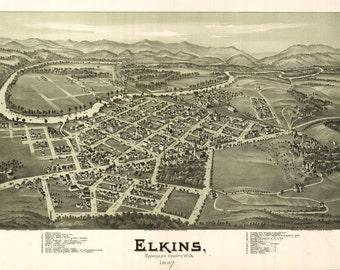 1897 Panoramic Map of Elkins West Virginia