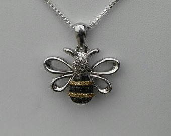 Sterling Silver Diamond Studded Bumblebee Necklace