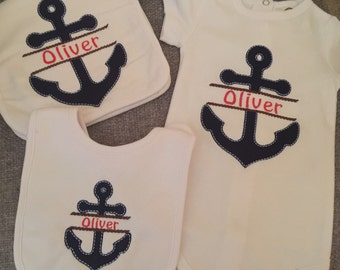 Nautical Themed Achor Embroidered and Appliqued Baby Set