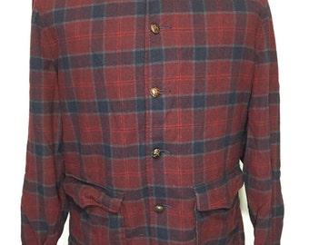 70's pendleton wool shirt jacket with flap pocket red plaid size medium