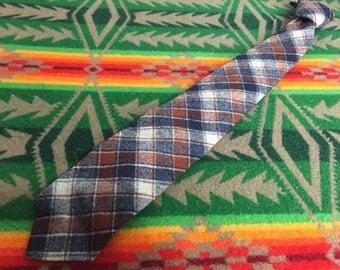 70's vinvage pendleton plaid wool tie