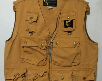 50's vintage thick canvas vest hunting fishing  size M