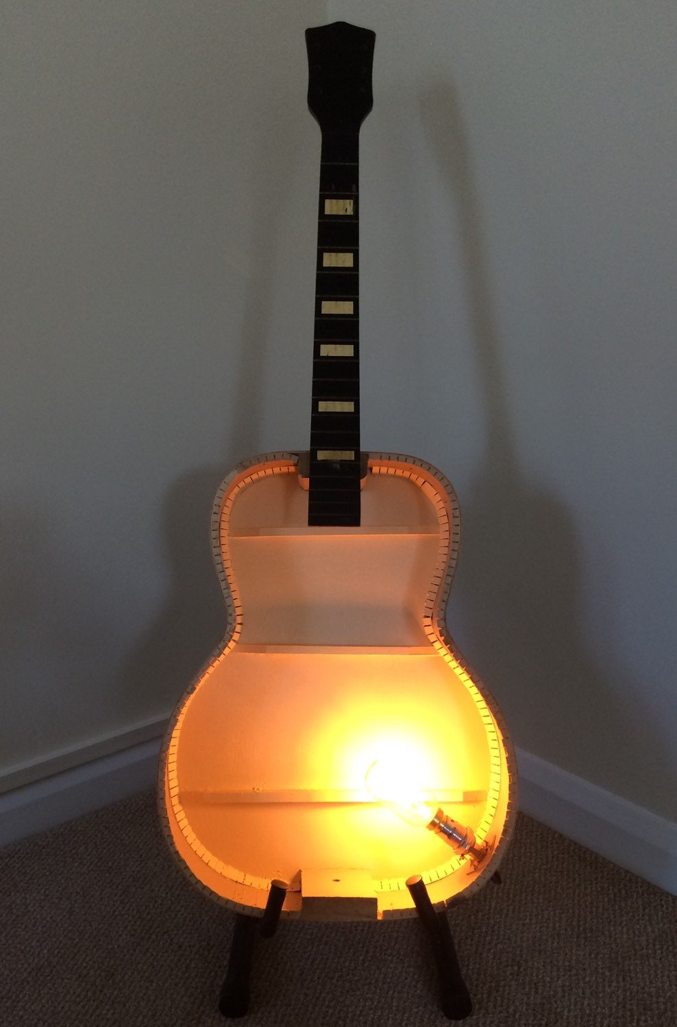 Upcycled Acoustic Guitar Floor Lamp Light With Industrial