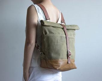 Waxed canvas backpack, Canvas backpack, Diaper backpack, Rucksack backpack, Waxed canvas handbag, Backpack women, Laptop backpack,  Khaki