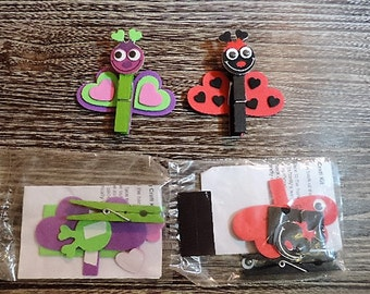 Kids craft kit - Ladybug and butterfly memo clip magent kit - makes 2