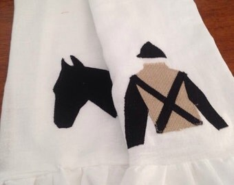 Ruffled KY Derby inspired flour sack towels