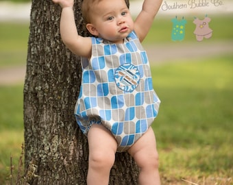 Boys Blue Bubble Romper, Monogrammed Applique Bubble Romper