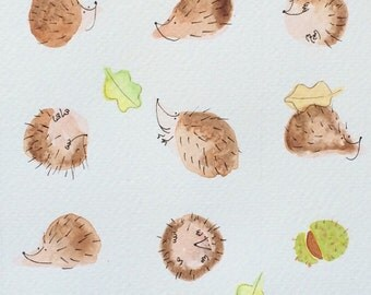Hedgehogs, conkers and Autumn leaves -  baby shower animal art, quirky, affordable art, home decor - unframed print