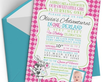 Alice in Wonderland Birthday Invitation Printable, Alice in Onederland, 1st First Birthday Party, Baby Girl, Queen of Hearts, Photo, Pink
