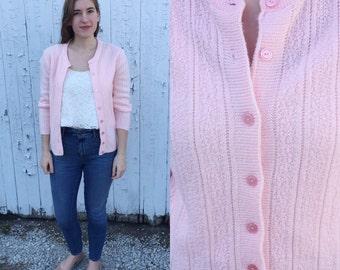 1960s pink cardigan sweater / vintage cardigan / vintage sweater / pink cardigan