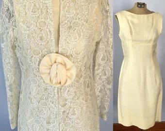 1960s Lace Wedding Dress / 1960s lace jacket / jackie o / 60s dress / vintage wedding