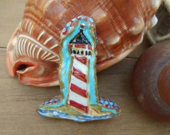 """Nautical Polymer Clay Hand Painted Brooch """"Guiding Light"""""""