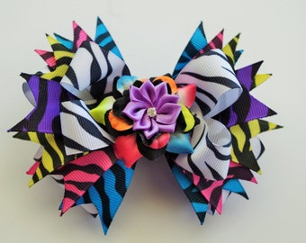 Zebra Print Hair Bow, Colorful Boutique Stacked Hair Bow, Zebra Bow, Zebra Boutique Bow, Boutique Stacked Bow, Girls Hair Bow, Zebra