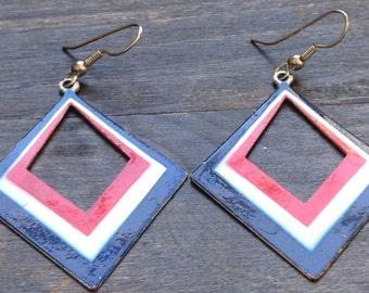 Red White Blue earrings, July 4th earrings, diamond shape earrings, celebration earrings