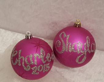 Christmas Personalised Baubles - pink
