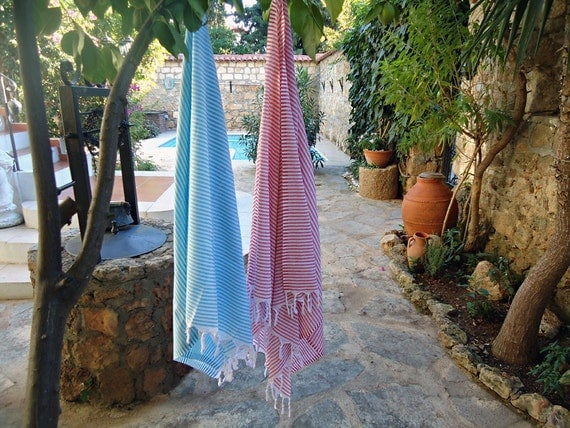 Set of 8 Cotton Beach Towel Turkish Towel Bath Towel Beach Throw Sarong Fouta Beach Wrap Handwoven Bath Towel Yoga Towel Turkish Beach Towel