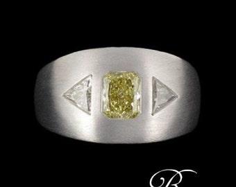 Ring Diamond white gold brushed