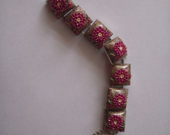 Handmade/Polymer clay/Nickel Bracelet with Square Bezels/Floral/One of a kind