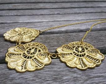 Filigree Necklace, Lace Flower Necklace, Bib Necklace, Brass Necklace, Lace Necklace