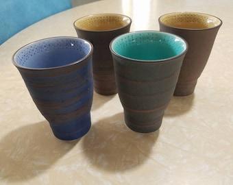 Set of 4 fun Mid Century Modern ceramic cups/tumblers