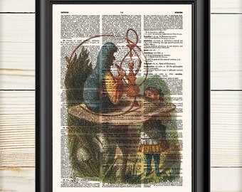 Alice in Wonderland, Caterpillar, Alice Decorations, Fairytale Art, Alice Art Print, Nursery Print, Dictionary Print, 154