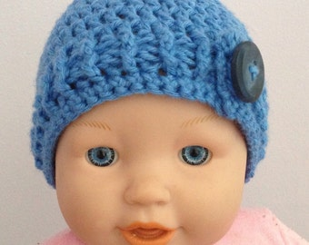 Baby boy blue button crochet hat