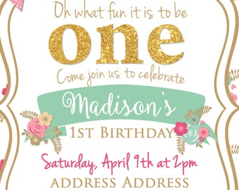 What Fun To Be ~ Shabby Chic Themed Birthday Invitation