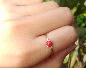 Choose bright color czech Glass Dainty glass Gem small Gold Wire Ring red yellow green pink