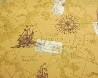 Antique Colour, Vintage Map & Nautical Boats 100% Cotton Poplin Printed Fabric.