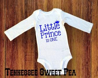 Boy's 1st Birthday, Boy's First Birthday, Little Prince Bodysuit, Baby Boy's Bodysuit, Baby Boy Clothing, 1st Birthday, Short or Long Sleeve