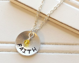 Stamped Faith Necklace, Stamped Necklace, Faith Necklace, Wedding Jewelry, Bridal Jewelry, Swarovski Necklace, Stamped Necklace, Faith