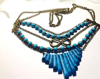 Bronze and turquoise necklace for summer