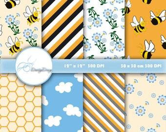 Digital Paper Pack, Honeybee Digital Papers, Printable Paper Bees, Honeycomb Patterns, Flowers and Honey Bees, Scrapbooking Honeybees #480