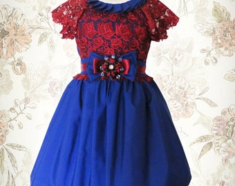 Birthday party dress. Baby dress. Girls couture dress, holidays,Flower Girl Lace Dress.Pupolino dress