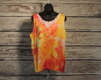 Tequila Sunrise Ice Dyed Lace Insert Tank Top WTSLLT