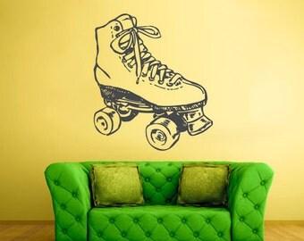 rvz1688 Wall Decal Vinyl Sticker Decals Roller Derby Skate Sport Girl