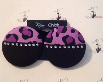Purple leopard with rhinestones covered buttons