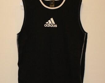 adidas // Tank Top // Crew Neck // Three Stripes // 100% Cotton // Black // Large