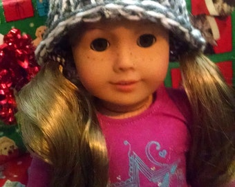 White and Gray American Girl Hat