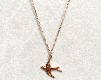 Swallow Necklace ~ Rose Gold