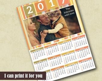 2017 Poster Calendar Template, Family Photo Calendar 2017 Template, Calendar Photoshop Template, 2017 Photo Calendar Template,Photo Calendar