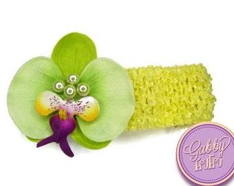 Green Pearl Orchid Stretch Headband