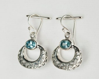 B001-013-001 Handmade Blue Topaz Hoop Earrings Sterling Silver Gemstone December Birthstone